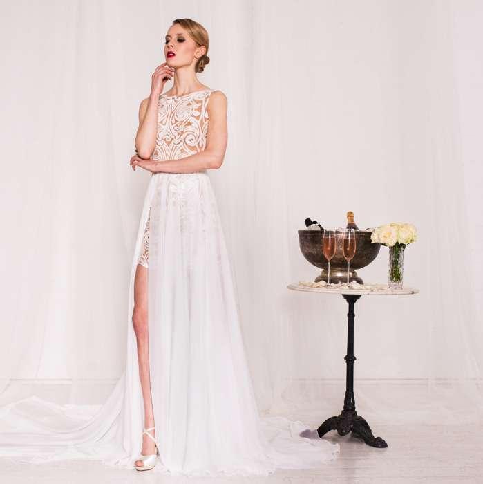 Extravagantes Designer-Brautkleid Xenia, kurz-lang