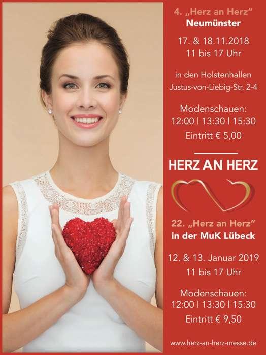 Plakat der Hochzeitsmesse Herz an Herz Lübeck, 12.und 13. Januar 2019, 11:00 Uhr bis 17:00 Uhr, Modenschauen 12:00 Uhr, 13:30 Uhr und 15:30 Uhr, Eintritt 9,50 Euro