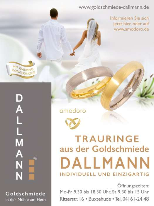 Anzeige der Goldschmiede Dallman. Goldschmiede an der Mühle am Fleth, Ritterstraße 16, Buxtehude, Telefon 04161-2448, mit Hinweis auf den Trauringkofigurator.