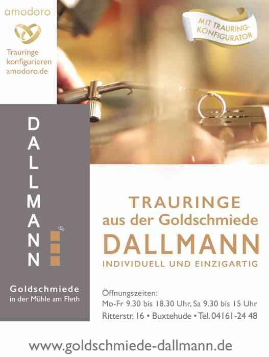 Information der Goldschmiede Dallman. Goldschmiede an der Mühle am Fleth, Ritterstraße 16, Buxtehude, Telefon 04161-2448, mit Hinweis auf den Trauringkofigurator.