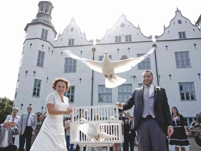 Hochzeitstauben nach der Trauung im vor dem Ahrensburger Schloss - Juliane Kiefer Fotografie