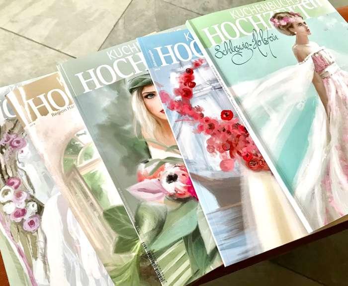 Fünf Cover des Hochzeitsmagazins Kuchenbuchs Hochzeiten in Schleswig-Holstein.