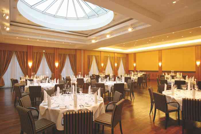 Festsaal mit eingedeckten runden Tischen  der Hochzeitslocation Steigenberger Hotel Sonne in Rostock.