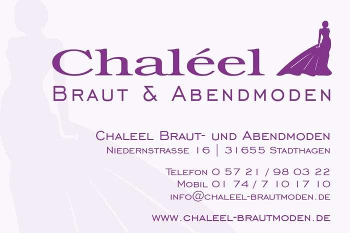 Visitenkarte Brautmoden Chaleel Hannover. Niederstraße 16, 31655 Stadthagen
