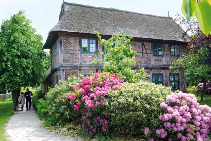 Eingangsbereich der Hochzeitslocation Freilichtmuseum am Kiekeberg mit blühenden Rhododendren.
