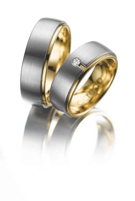 Eheringe zweifarbig Gelbgold Platin Diamant