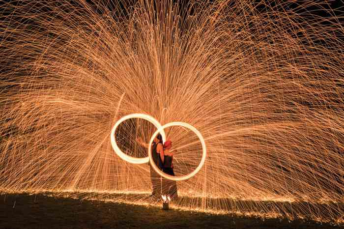 Feuershow der Feuersöldner