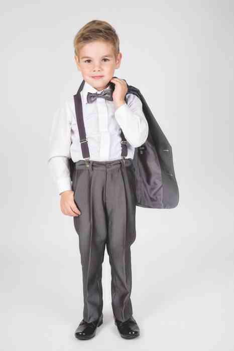 Ceile Kleiderverleih für Kinder festliche Anzug mit Fliege und Hosenträger für Jungen