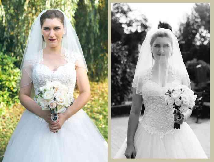 Braut mit Schleier und Rosenstrauß