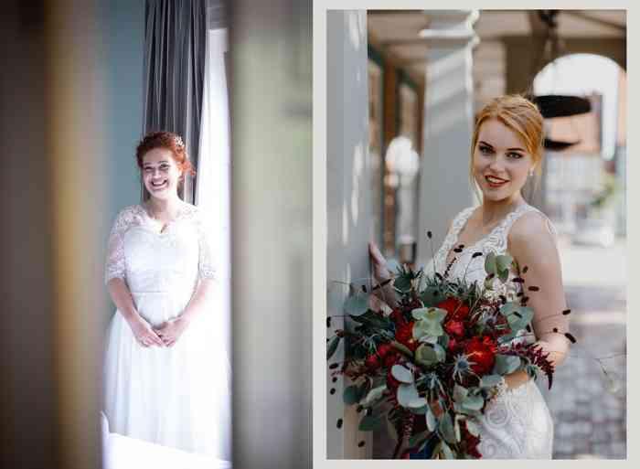 Braut mit roten Haaren und Braut mit großem Brautstrauß