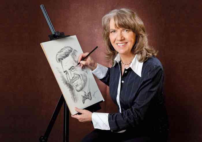Schnellzeichnerin Monika Jordan lässt ein Porträt entstehen