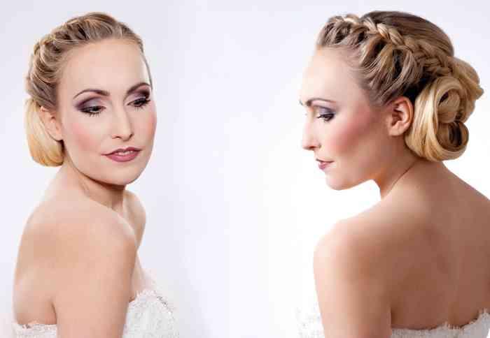 Aufwendige Flechtfrisur mit frischem Make-up für die Braut