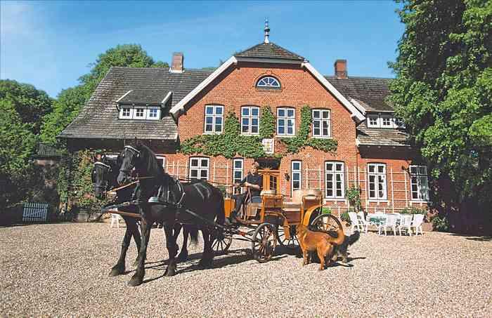 Ferien- und Seminarhof Osterbunsbüll mit Kutsche vor dem Eingang