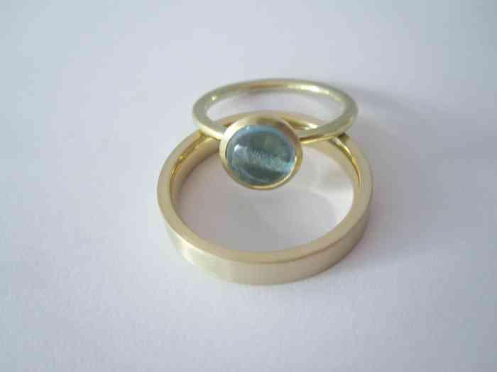 Goldener Ring mit Topas, entworfen von Dorothee Bonk, der kreativen Goldschmiedin von liebes Stück.
