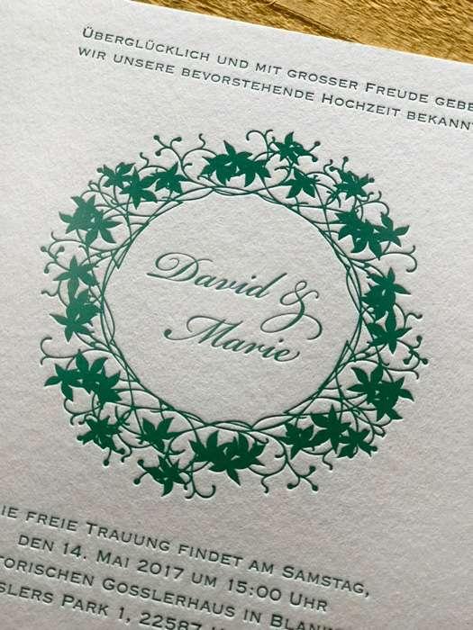 Eine edle Hochzeitskarte im Letterpress-Verfahren.