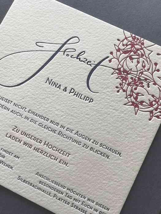 Individuelle Hochzeitskarte im Letterpress-Verfahren.