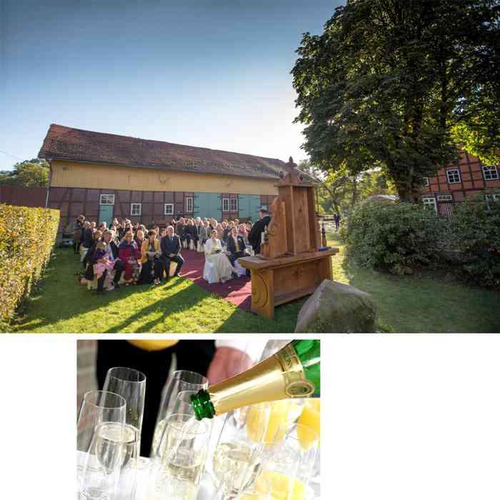 Kirchliche Eheschließung im Garten von Hof Sudermühlen