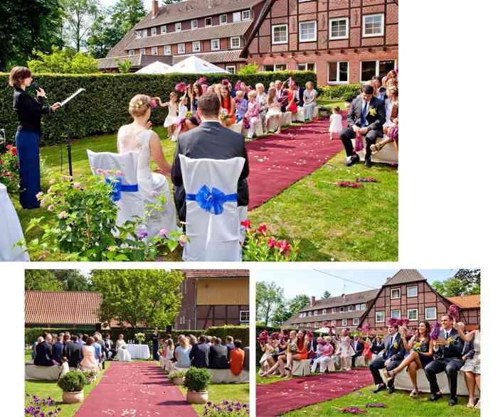 Weltliche Trauzeremonie im Garten von Hof Sudermühlen