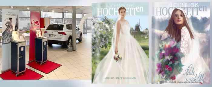 Im Autohaus Wolperding in Winsen-Luhe versammeln sich zahlreiche Aussteller um interessierte Brautpaare zu beraten.