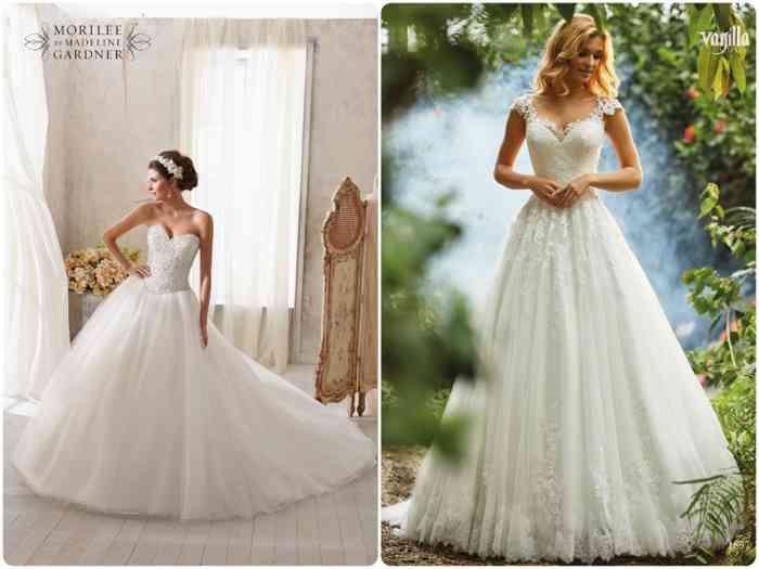 Klassische Prinzessinnen-Kleider von Madeleine Gardner und Vanilla Sposa.