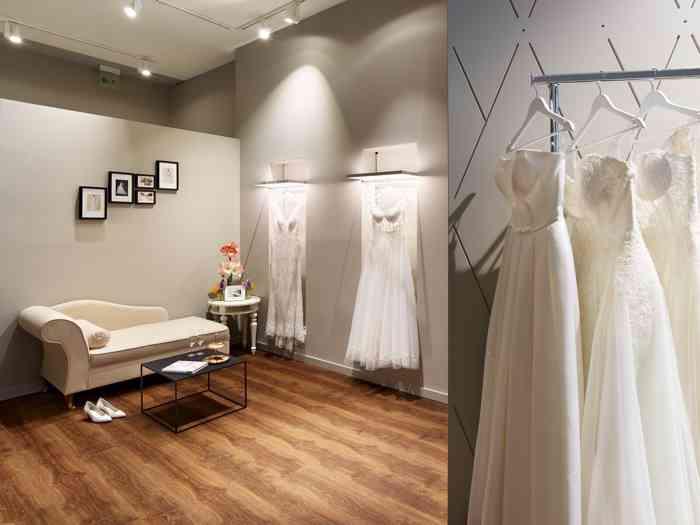 Im eleganten Wediva Showroom findet eine Braut besondere Kleider, Schuhe und Accessoires.