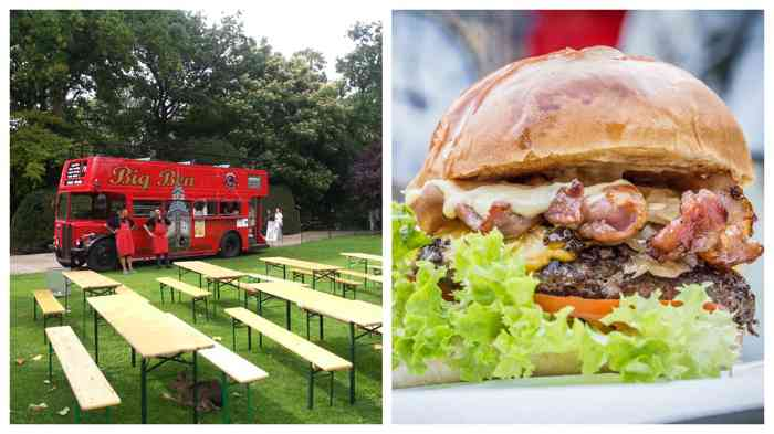 Leckere Burger bunte Cocktails - fertig ist die Hochzeitsfeier.