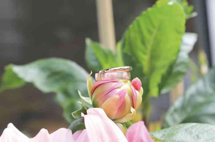 Trauringe glänzend und matt auf Blume