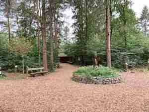 Holzpavillon im Schulwald