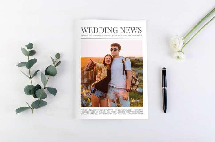 Hochzeitszeitung von Carinokarten mit dem Titel Wedding News