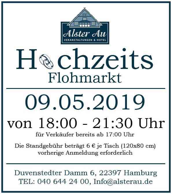 Ankündigung Hochzeitsflohmarkt in der Alster Au.
