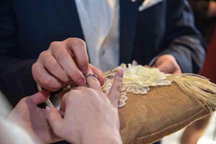 motiv pictures Sönke Kreowski zeigt Ringkissen, Trauringe und Ringtausch von Braut und Bräutigam