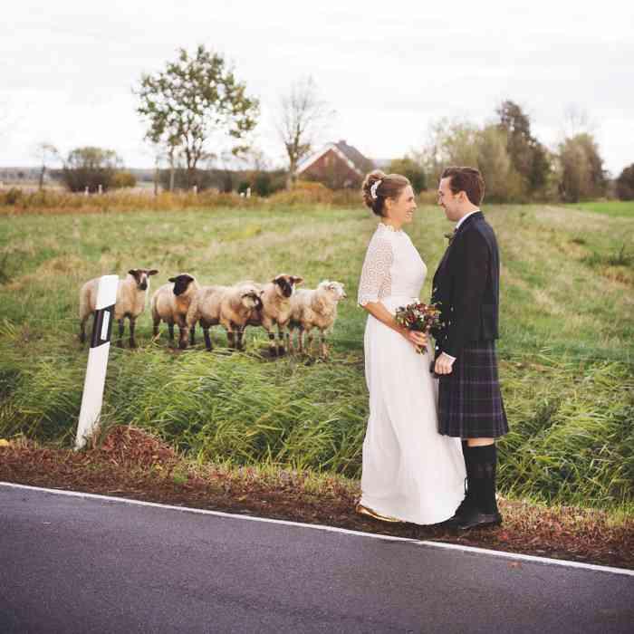 Brautpaar mit Heidschnucken fotografiert von Sag Ja Hochzeitsfotos Helen Fischer
