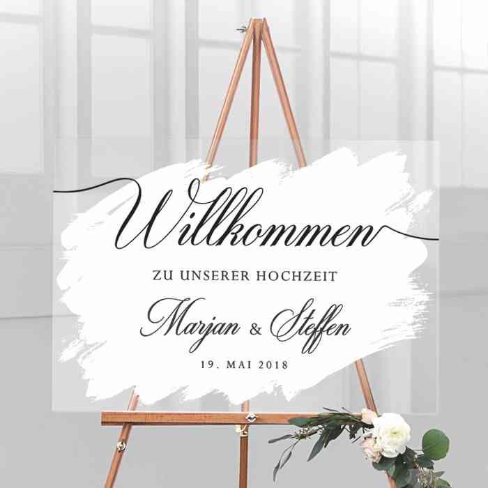 beautiful in white Hochzeitstafel Staffelei Willkommen